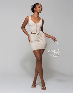 corset style cami top and skirt co-ord in ecru-White