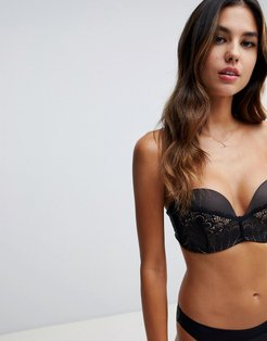 refined glamour ultimate strapless lace bra a - g cup-Black
