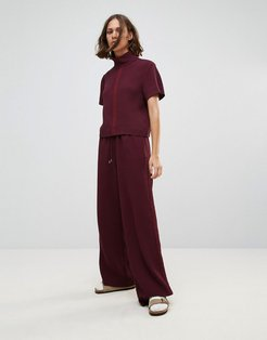 Josette Relaxed Wide Leg Pants-Red