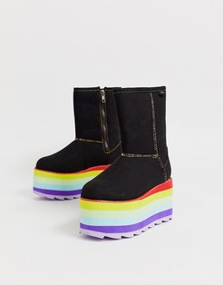 Y-R-U - flat plateau boot in black with colorfull plateau-Multi