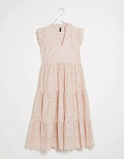 broderie maxi dress with frill sleeve and tiering in pink