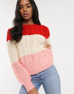 cable knit sweater in color block stripe-Red