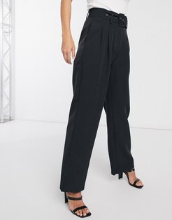 Dinah high waisted belted pants-Black