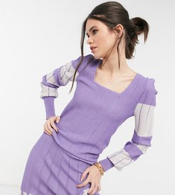 exclusive knitted top set in lilac and white color block-Multi