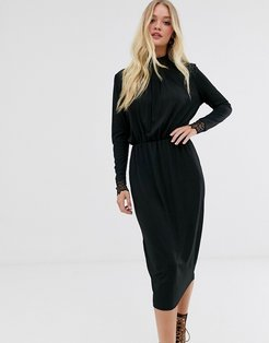 high neck plisse dress with lace cuff in black