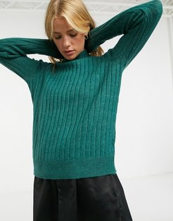 high neck sweater in textured knit-Green
