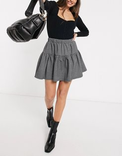 mini skirt set with tiering in mini houndstooth-Multi