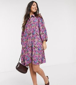shirt dress in floral-Multi