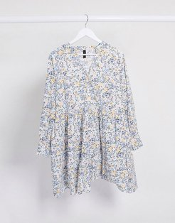 smock dress with long sleeves in mixed white / floral-Multi
