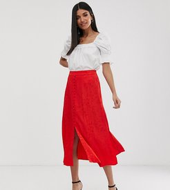 button front jacquard midi skirt-Red