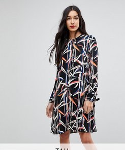 Graphic Printed Shift Dress With Tie Sleeves-Multi