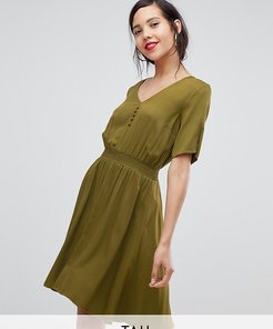 midi dress with elasticated waist-Green