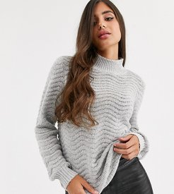 textured high neck knitted sweater-Gray