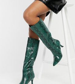 Exclusive Abella vegan friendly pull-on boots in green snake