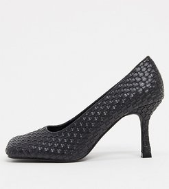Exclusive Gitta vegan heeled shoes with square toe in black