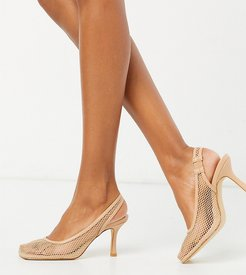Exclusive Ibna vegan mesh square toe heeled shoes in beige