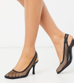 Exclusive Ibna vegan mesh square toe heeled shoes in black