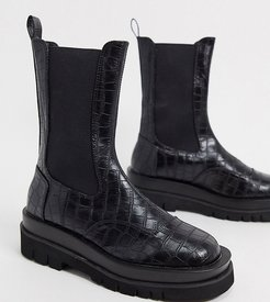 Exclusive Nora vegan chunky chelsea boots in black croc
