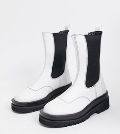 Exclusive Nora vegan-friendly chunky chelsea boots in white