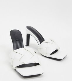 Exclusive Rae vegan plaited heeled mules in white