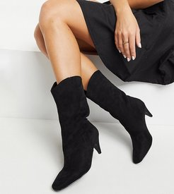 Exclusive Trina vegan-friendly pull-on calf boots in black