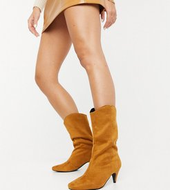 Exclusive Trina vegan-friendly pull-on calf boots in tan