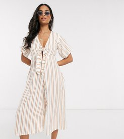 Exclusive tie front jumpsuit with wide leg in stripe-Multi