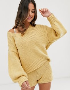 relaxed oversize knitted beach sweater in oatmeal-Yellow