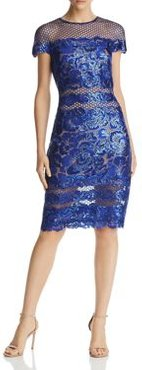 Sequin Embroidered Cap Sleeve Sheath Dress
