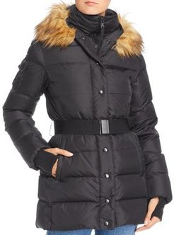 Faux Fur Trim Belted Puffer Coat - 100% Exclusive