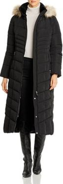Faux Fur Trim Long Quilted Coat