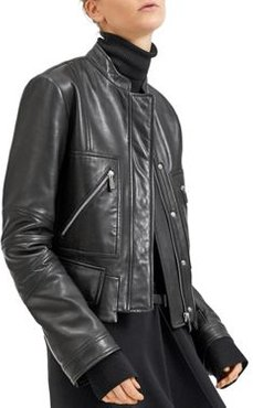 Cropped Moto-Style Leather Jacket