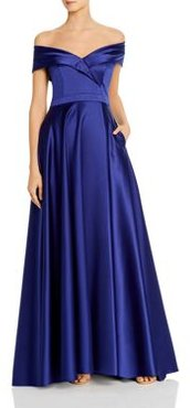 Satin Off-the-Shoulder Gown - 100% Exclusive