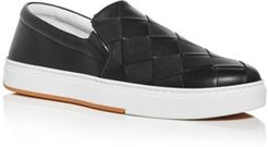 Wide Weave Leather Slip-On Sneakers