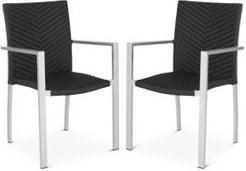 Cordova Indoor/Outdoor Stacking Arm Chairs, Set of 2