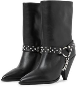Pointed Toe Studded Strap Boots