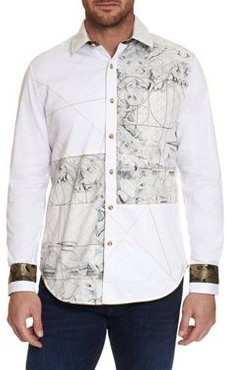 Gabbay Evolution Limited Edition Cotton Embroidered Graphic Print Classic Fit Button Down Shirt
