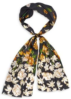 Falling Floral Silk Oblong Scarf - 100% Exclusive