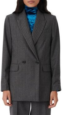 Visland Pinstriped Double Breasted Wool & Cashmere Blazer