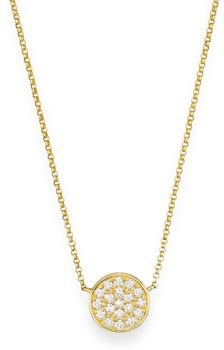 Diamond Pave Disk Pendant in 14K Yellow Gold, 0.25 ct. t.w.