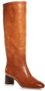 Gia Pointed Toe Knee-High Leather Mid-Heel Boots