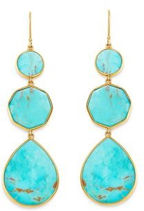 18K Yellow Gold Polished Rock Candy Drop Earrings in Turquoise