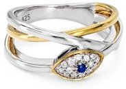 Marc & Marcella Diamond & Sapphire Evil Eye Ring in Sterling Silver & 14K Gold-Plated Sterling Silver, 0.09 ct. t.w. - 100% Exclusive