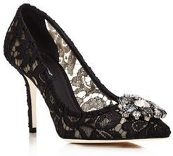 Lace Embroidered Pumps