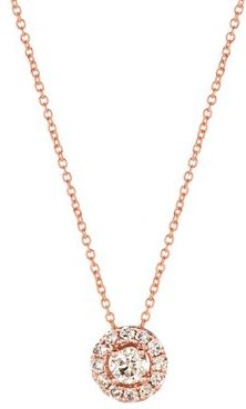 Champagne Diamond Halo Pendant Necklace in 14K Rose Gold, 0.48 ct. tw. - 100% Exclusive