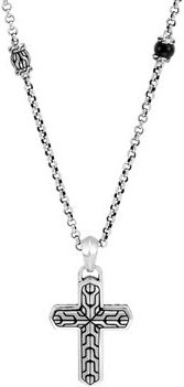 Sterling Silver Classic Chain Black Onyx & Cross Pendant Necklace, 26