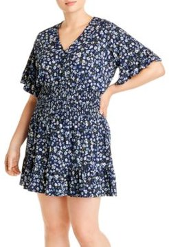 Garden Patch Printed Ruched Short Dress