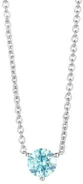 Lab-Grown Blue Diamond Solitaire Pendant Necklace in Sterling Silver, 0.75 ct. t.w, 16-18