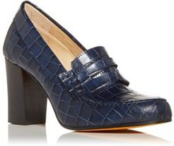 Clint Croc Embossed High Block Heel Penny Loafers