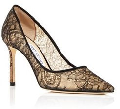 Romy 85 High Heel Pointed Toe Lace Covered Pumps